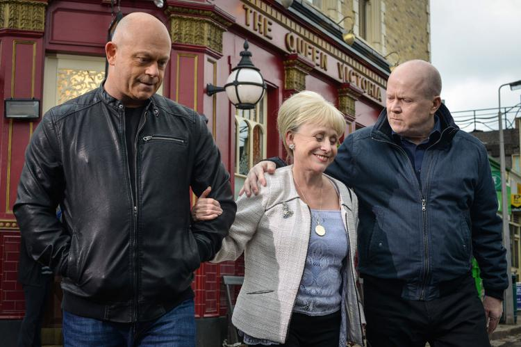 Peggy Mitchell farewell  to Grant and Phil in EastEnders