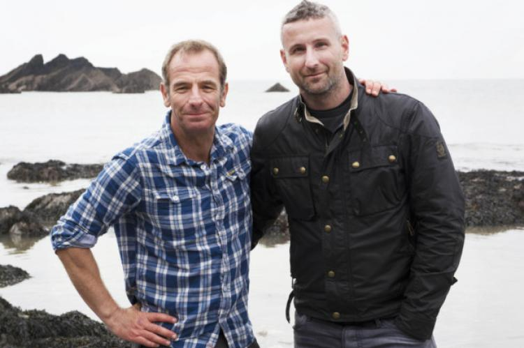 Robson Green with Jamie McLintock, the owner of Ilfracombe's Tunnel Beaches