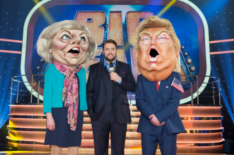 Jason Manford with Theresa May and Donald Trump