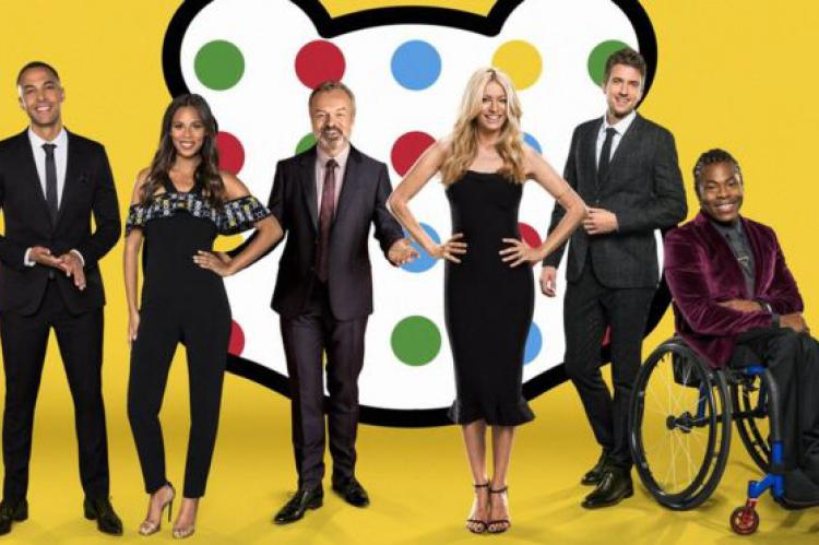 Children in Need 2016 presenters (l-r): Marvin Humes, Rochelle Humes, Graham Norton, Tess Daly, Greg James, Ade Adepitan