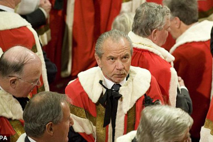 Sir Alan Sugar takes his seat in the House of Lords