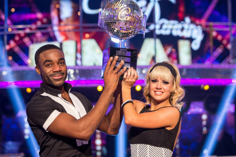 Joanne Clifton and Ore Oduba with the glitterball trophy after winning Strictly Come Dancing 2016 BBC