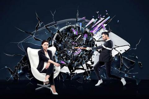 Emma Willis and Rylan in Big Brother