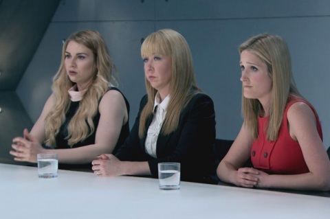 You're fired: Michelle Niziol (centre) is the first to be fired from The Apprentice