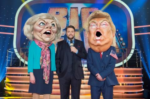 Jason Manford with Theresa May and Donald Trump