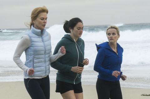 Nicole Kidman, Shailene Woodley and Reese Witherspoon running along Monterey beach in Big Little Lies