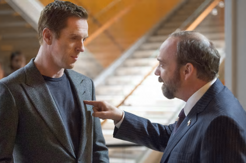 Billions: Bobby Axelrod (Damian Lewis) and Chuck Rhoades (Paul Giamatti)