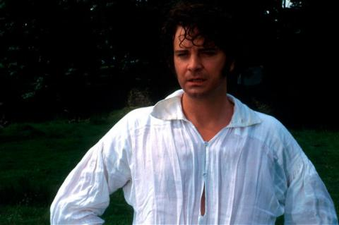 Colin Firth as Mr Darcy emerging from the lake