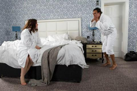 Corrie's Dev and Mary wake up in a hotel room