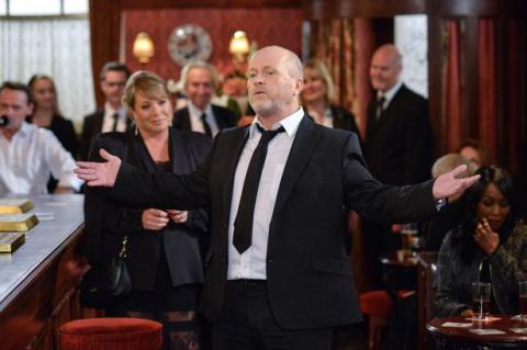 Phil Mitchell struggles to get through the eulogy