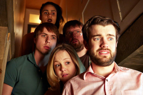 Jack Whitehall,  Kimberley Nixon, Joe Thomas, Greg McHugh and Zawe Ashton