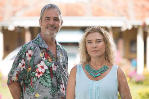 Neil Morrissey (left) and Amanda Redman (right)