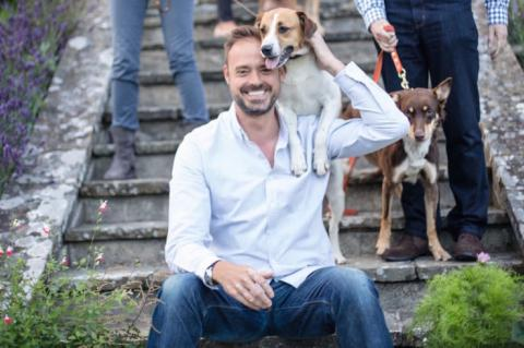 Jamie Theakston and rescue dogs