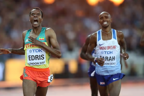 Mo Farah of Great Britain displays his anguish as he finishes runner-up to Muktar Edris of Ethiopia in the 5,000m final in London