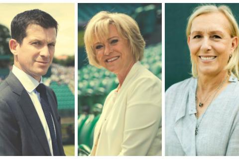 Tim Henman, Sue Barker and Martina Navratilova