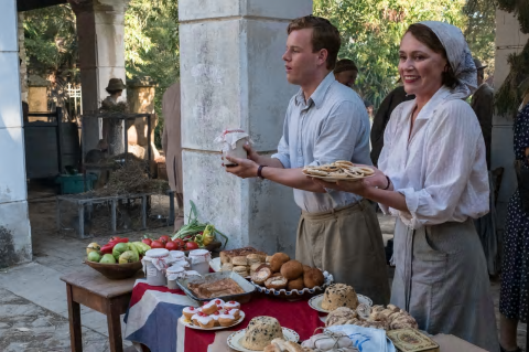 The spotted dick solution ... Callum Woodhouse as Leslie and Keeley Hawes as Louisa in The Durrells.
