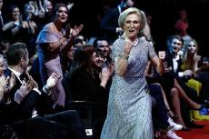 Mary Berry punches the air at The National Television Awards