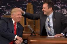 Jimmy Fallon tests Donald Trump's hair to see if it's real