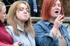 "The Moorside: Sheridan Smith as ""Find Shannon"" campaign organiser Julie Bushby and Gemma Whelan as the scheming Ms Matthews"
