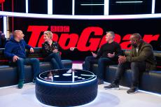 Top Gear presenters Rory Reid, Chris Harris and Matt LeBlanc with Tamsin Greig
